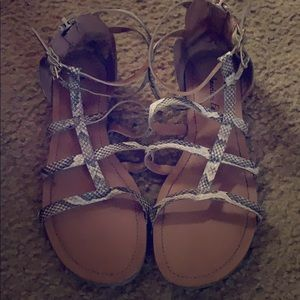 Ankle wrapped sandals